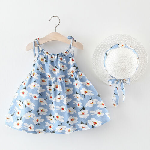 Toddler Baby Kids Girls Sleeveless Floral Princess Dresses Bow Hat Outfits