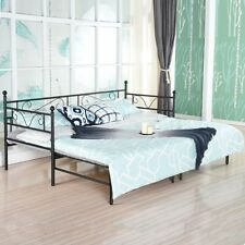 Day Bed Frame Only Black Single Metal With Pull Out Guest Under