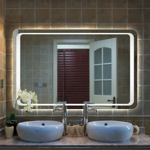 image is loading vertical horizontal hung led light bathroom mirror demister - Bathroom Mirror With Lights