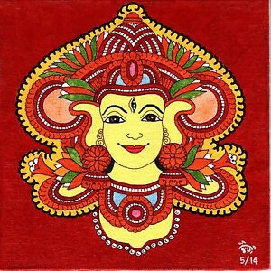 Kerala Mural Durga Painting Handmade South India Religion Ethnic