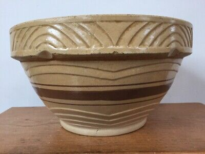 Roseville Pottery 104 US Vintage Yellowware Bowl with Brown Bands McCoy Pottery Bowl Rustic Kitchen Decor Stoneware Mixing Bowl
