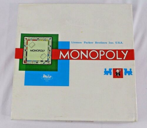 Vintage Monopoly Game in French w Wood Pieces 1961 Made in France
