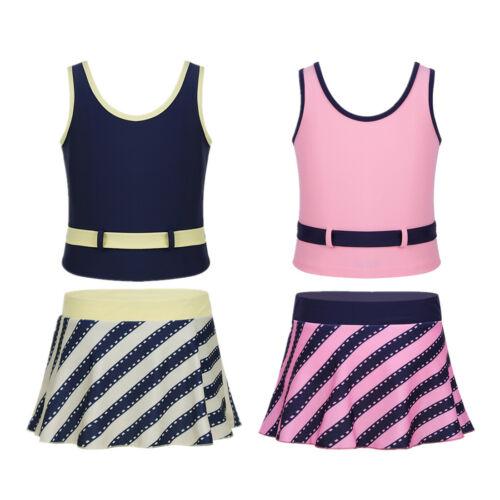 Filles Enfants 2Pcs Swimwear Maillot De Bain À Rayures Tutu Jupe Robe de bain Beachwear Costume