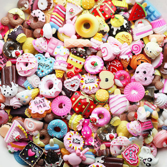 US Seller -- 20 pcs Lot Food Flatback Kawaii Resin Cabochons Deco For Crafting