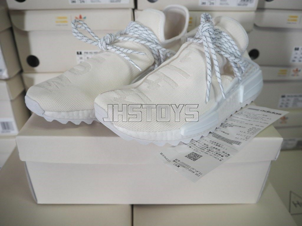 US 12 Adidas Pharrell HU Human Race Holi Blank Canvas Cream White AC7031 Japan