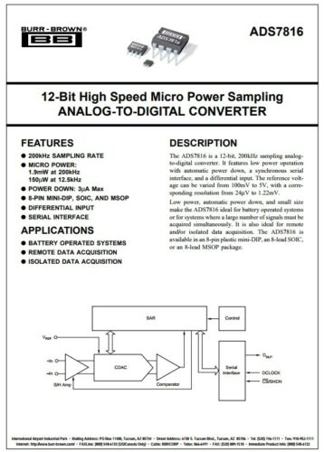 ADS7816PB ADS7816 12bit A to D convertor 8 pin DIL  ADC