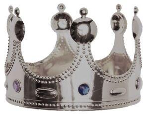 Couronne-de-ROI-REINE-Plastique-Argent-Deguisement-Homme-Femme-Medieval-NEUF