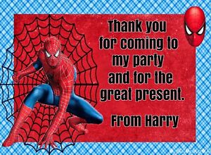 Personalised Children Party Thank You Cards Spiderman With Envelopes