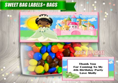 4 Personalised PRINCESS TIANA Fold Over Cards /& Bag Birthday Party Favours