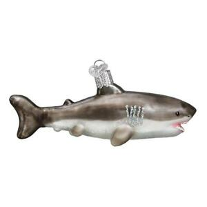 034-Great-White-Shark-034-12549-X-Old-World-Christmas-Glass-Ornament-w-OWC-Box