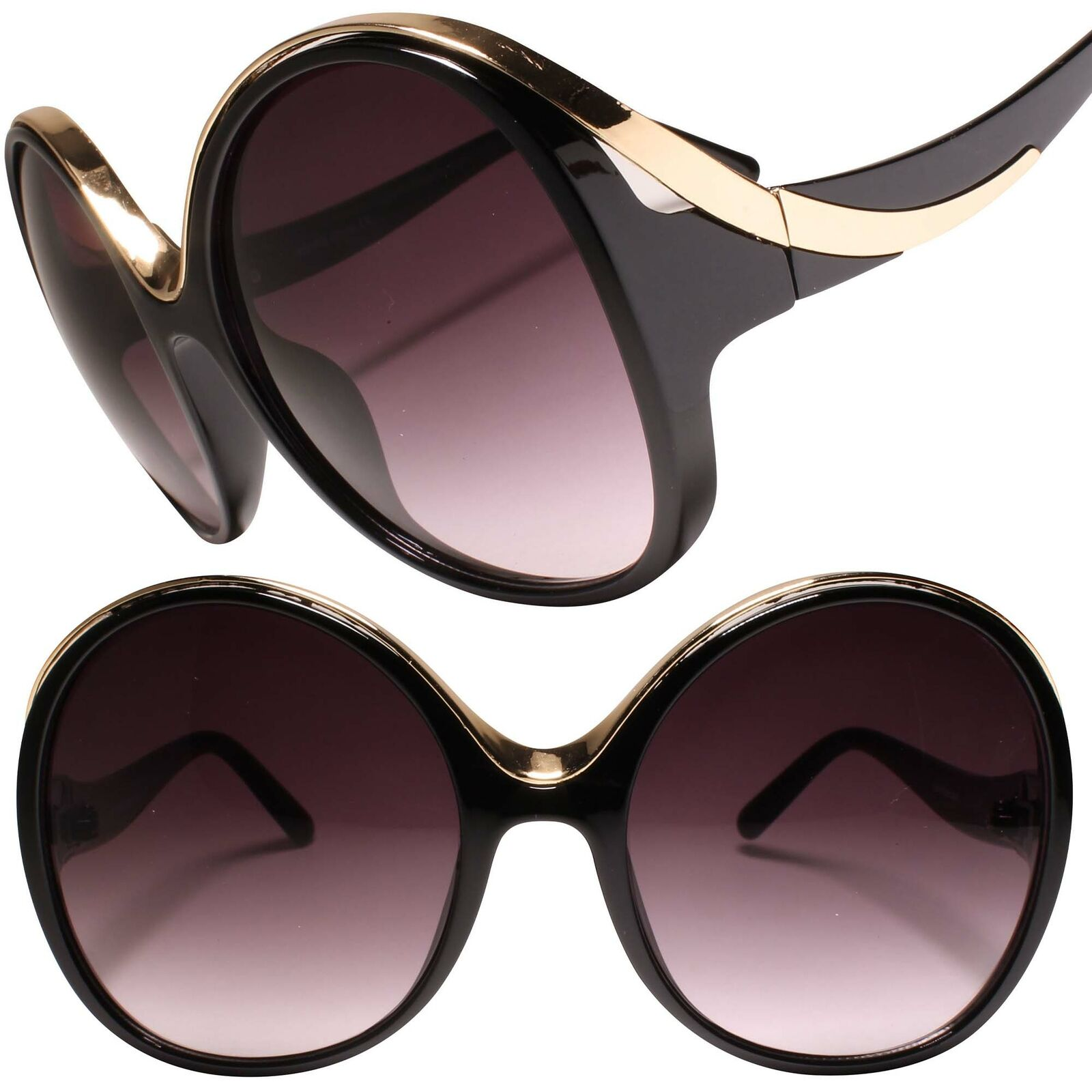 Classy Retro Oversized Large Exaggerated Womens Round Sunglasses Black