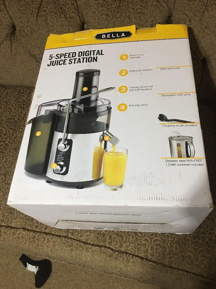 """Bella Stainless Steel 5-speed Juicer 13990 Fruit Vegetable 3"""" Wide NEW"""