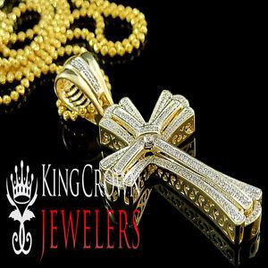 Herrenschmuck 14k Weißgold Finish Original Diamant Mini Jesus Kreuz Anhänger Ketten Set