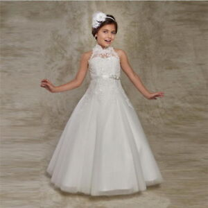 0290b9fafc3 Lace Flower Girl Dresses Cap Sleeves A Line First Communion Dress ...