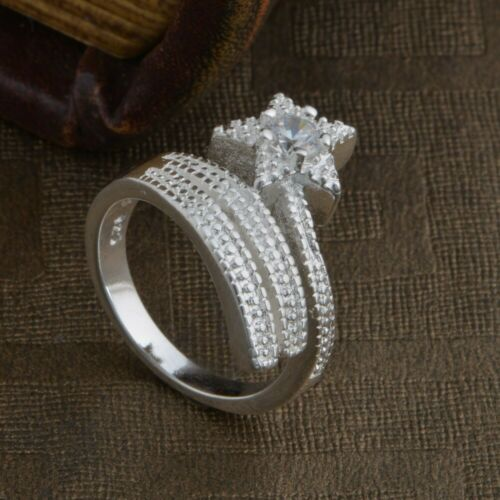 Silver Plated Shooting Star Ring Thumb Wrap Ring Adjustable Stacking Crystal CZ