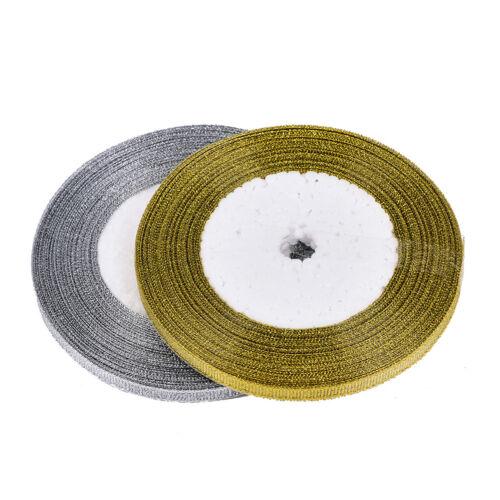Multi-Purpose Craft Supplies 2X 25yards/rool Silk Ribbon Gold/Sliver