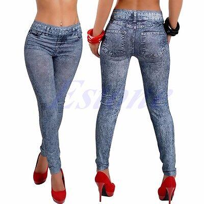 Sexy Women Jean Look Skinny Jeggings Stretchy Slim Leggings Fashion Skinny Pants