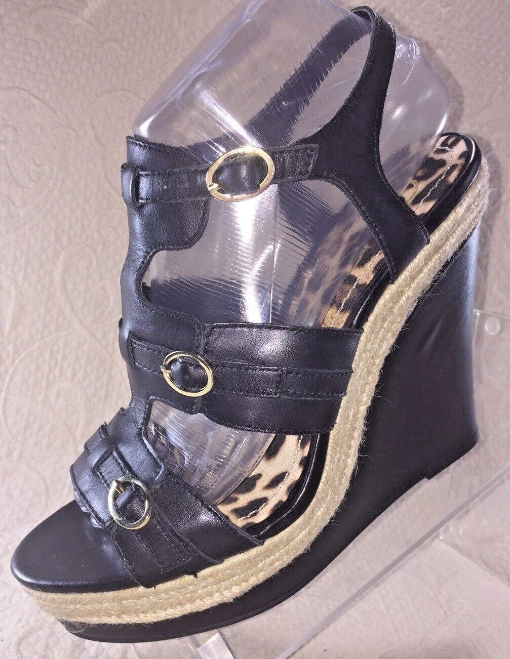 Jessica Simpson Mujer 8 Mack Negro Con Taco Sandalia Hebilla De Plataforma Zapato Nuevo en Caja