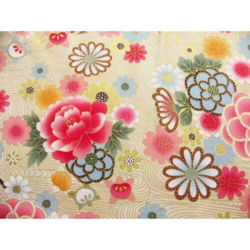 coupon tissu Japonais 55x49cm chariot ballon fleur doré creme 78