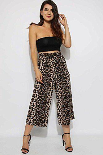 Womens Tie Front Leopard Print Culotte Wide Leg Pants Trousers UK Size 6-14
