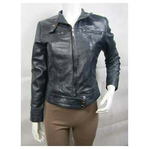 Napa Fashions Leather Tight Bike Blue Jacket Zip Short Ladies Fitted Slim Biker qE6z5Xxn