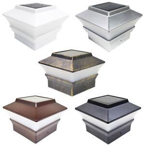 8 Black / Brown / Silver / White 4 x 4 Solar Post Deck Cap Fence Light PVC Vinyl