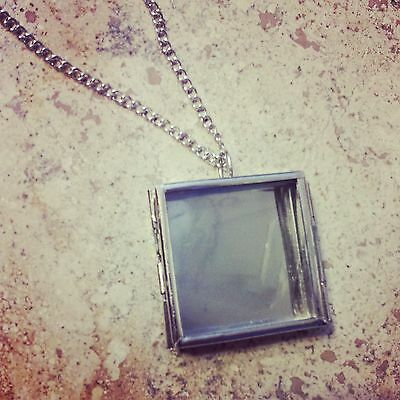 Silver Square Glass Door Shadow Box Locket Pendant Chain Vintage Style Necklace