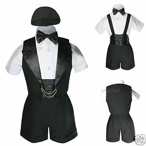 Baby Shower Boy Easter Church Christening Baptism Formal Tuxedo Suits Black 0-2T