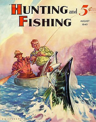 Musky Walleye Fishing Magazine Cover Art Print Vintage Lures Hunting Cabin Decor