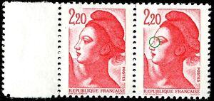 TIMBRE-VARIETES-LIBERTE-2-20-ROUGE-N-Yvert-2376-L45R
