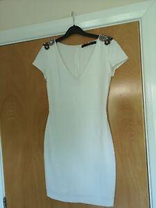 Ladies-ZARA-Dress-Size-S-8-Ivory-Wiggle-Pencil-Mini-Party-Evening-Wedding-Races