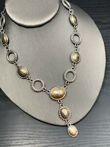 """Vintage Gold And Silver Chunky Intricate Link Drop Pendant Necklace 16"""""""