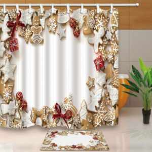 Image Is Loading Gingerbread Cookies And Christmas Tree Decor Shower Curtain