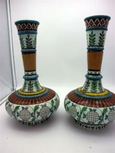 2 Majolika Vasen altes Majolika Vasen Paar Vasen Set - Majolika Johann Glatz