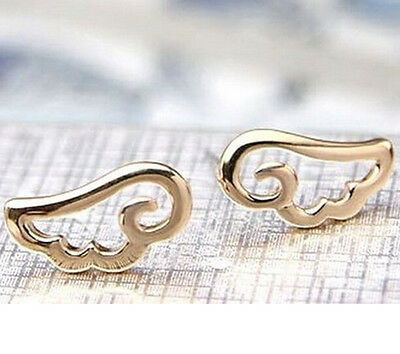FD419 Fashion Gold Plated Women Girl Princess Queen Angel Wings Studs Earring :)