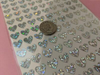 1 x Sheet Vinyl Sparkly Holographic Waterproof Stickers Peel off Hearts 2 sizes