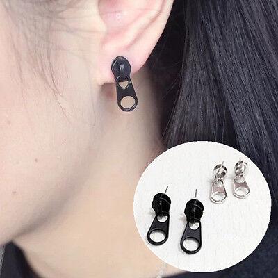 1Pair Women Zipper Puller Earrings Punk Creative Style Zipper Head Earrings