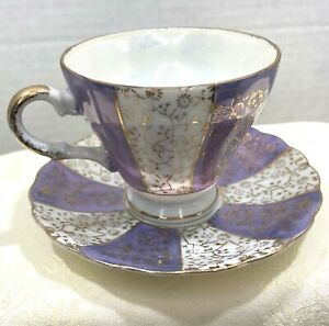 Vintage China Iridescent Purple Opalescent Tea Cup & Saucer Gold Trim Japan