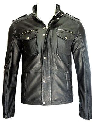 Justin Mens 5540 Gents black Designer Sheep Nappa Soft Lambskin Leather Jacket