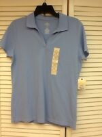 Ss Pullover Casual V-neck Top, Baby Blue, Size M, St.johns Bay,