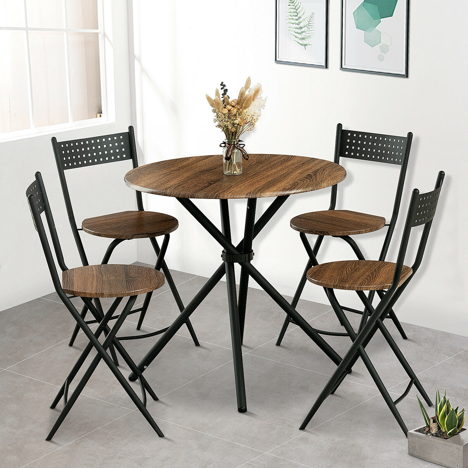 Modern 5pcs Metal Dining Table Set W 4 Folding Chairs Wood Top Kitchen Room For Sale Online