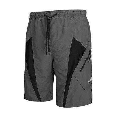 SANTIC Mens Padded Baggy Cycling Shorts Bicycle Bike MTB Short Pants Loose Gray