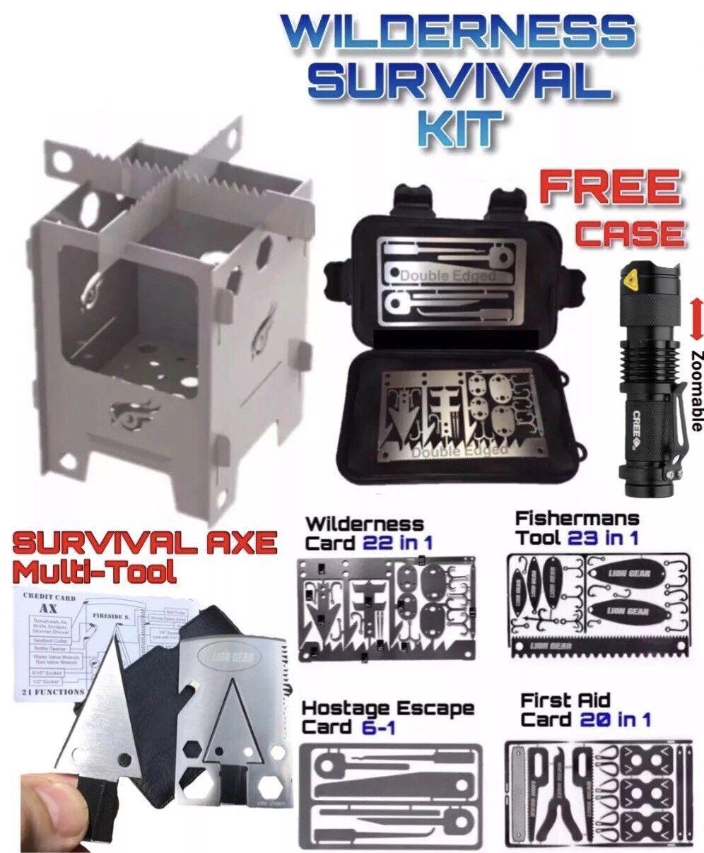 Conjunto de tarjeta de súpervivencia Hacha Caza Pesca de primeros auxilios Escape Mini Estufa Q5 Linterna