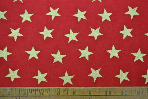 John Louden Classic Holly Stars CHRISTMAS 100/% Cotton Print Designs Craft Fabric