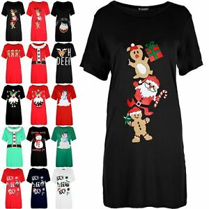 Womens Xmas Christmas Santa Baggy Gingerbread Climb Snowman Ladies T Shirt Dress
