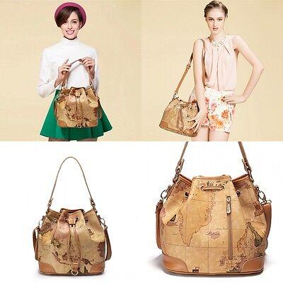Women's Casual Bag Canvas Bag  Geo World Map Single  Shoulder Bag Messenger Bag