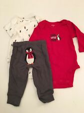 Carter's Baby Boys 3 Piece Set 2 Bodysuits Pants Size 3 Months Layette Penguin
