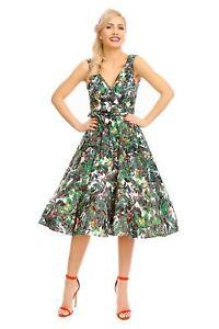 Damenmode Looking Glam Retro Vintage Pin Up 1950's Swing Floral Dress Dinge Bequem Machen FüR Kunden