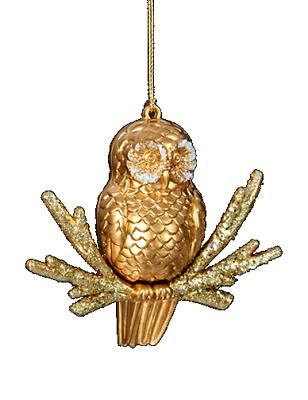 """ADLER 4/"""" MOLDED GLASS PLATINUM OWL w// STONES /& BEADS CHRISTMAS ORNAMENT KURT S"""