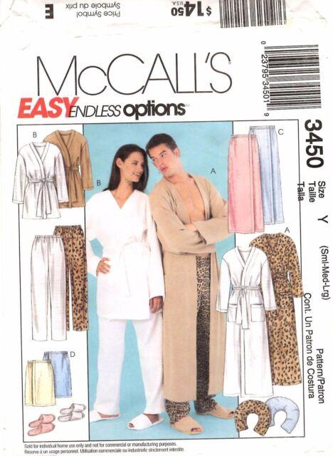 McCalls 3450 Misses & Men\'s Robe Wrap Pants Slippers Size S M L ...
